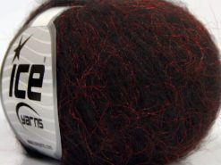 Lot of 10 Skeins Ice Yarns SALE LUXURY-PREMIUM (15% Mohair 20% Wool) Yarn Black Red