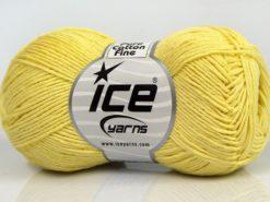 Lot of 8 Skeins Ice Yarns PURE COTTON FINE (100% Cotton) Yarn Light Yellow