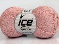 Lot of 8 Skeins Ice Yarns ELEGANT METALLIC COTTON (88% Cotton) Yarn Powder Pink