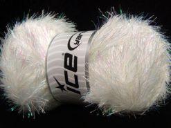 Lot of 4 x 100gr Skeins Ice Yarns EYELASH DAZZLE Yarn White Iridescent