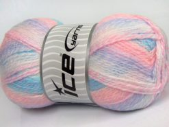 Lot of 2 x 200gr Skeins Ice Yarns PUZZLE BABY Yarn Blue Pink White Lilac