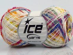 Lot of 8 Skeins Ice Yarns SALE SUMMER (75% Cotton) Yarn Light Cream Rainbow