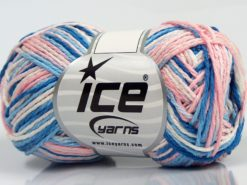 Lot of 8 Skeins Ice Yarns VIENNA Yarn Blue Shades Light Pink White