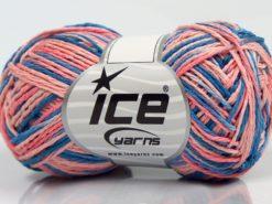 Lot of 8 Skeins Ice Yarns VIENNA Hand Knitting Yarn Blue Shades Salmon Shades