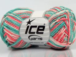 Lot of 8 Skeins Ice Yarns VIENNA Yarn Mint Green Salmon Shades White