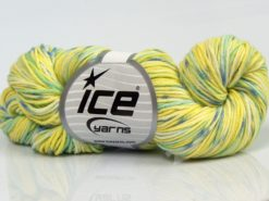 Lot of 3 x 100gr Skeins Ice Yarns HAND DYED CASHMERE (10% Cashmere) Yarn Green Shades Blue