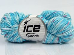 Lot of 3 x 100gr Skeins Ice Yarns HAND DYED CASHMERE (10% Cashmere) Yarn Blue Shades White Fuchsia