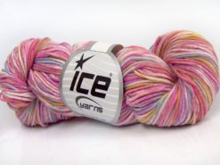 Lot of 3 x 100gr Skeins Ice Yarns HAND DYED CASHMERE (10% Cashmere) Yarn Pink Shades Olive Green Salmon
