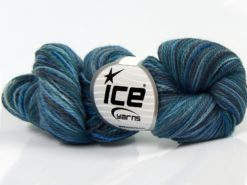 Lot of 3 x 100gr Skeins Ice Yarns HAND DYED SILK (15% Silk 85% Superwash Merino Wool) Yarn Blue Shades