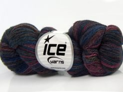 Lot of 3 x 100gr Skeins Ice Yarns HAND DYED SILK (15% Silk 85% Superwash Merino Wool) Yarn Purple Shades Blue Grey