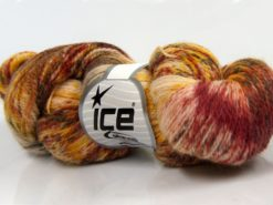 Lot of 3 x 100gr Skeins Ice Yarns HAND DYED SILK (15% Silk 85% Superwash Merino Wool) Yarn Gold Blue Burgundy Brown Khaki