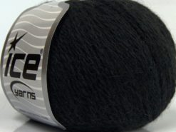 Lot of 6 Skeins Ice Yarns ANGORA CASHMERE (20% Cashmere 40% Angora) Yarn Black