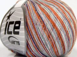 Lot of 10 Skeins Ice Yarns SALE SELF-STRIPING Yarn Light Lilac Purple White Turquoise Orange