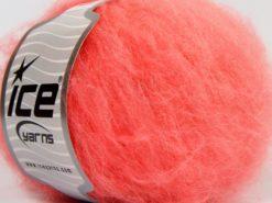 Lot of 8 Skeins Ice Yarns KAN MOHAIR (20% Mohair 25% Wool) Yarn Neon Orange