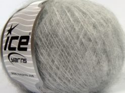 Lot of 8 Skeins Ice Yarns FLUFFY WOOL SUPERFINE (20% Wool 3% Elastan) Yarn Light Grey