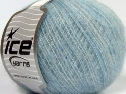 Lot of 8 Skeins Ice Yarns FLUFFY WOOL SUPERFINE (20% Wool 3% Elastan) Yarn Light Blue