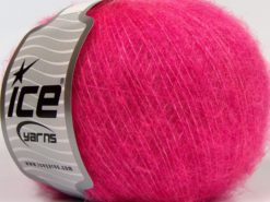 Lot of 8 Skeins Ice Yarns FLUFFY WOOL SUPERFINE (20% Wool 3% Elastan) Yarn Fuchsia