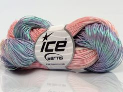 Lot of 3 x 100gr Skeins Ice Yarns HAND PAINTED COTTON (40% Cotton) Yarn Light Pink Lilac