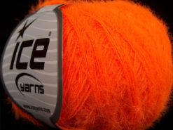 Lot of 8 Skeins Ice Yarns TECHNO FINE Hand Knitting Yarn Neon Orange