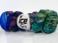 Lot of 2 x 100gr Skeins Ice Yarns HAND DYED SUPERWASH MERINO (100% Superwash Merino Wool) Yarn Blue Shades Green Shades Lilac Shades