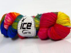 Lot of 2 x 100gr Skeins Ice Yarns HAND DYED SUPERWASH MERINO (100% Superwash Merino Wool) Yarn Rainbow