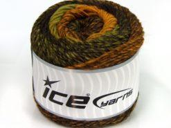 Lot of 2 x 150gr Skeins Ice Yarns CAKES ALPACA WORSTED (20% Alpaca 25% Wool) Yarn Gold Dark Brown Green Shades
