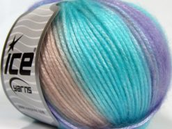 Lot of 8 Skeins Ice Yarns PICASSO Yarn Turquoise Lilac Powder Pink