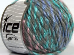 Lot of 8 Skeins Ice Yarns BABY TWIST (15% Wool) Yarn Light Grey Lilac Turquoise Pink