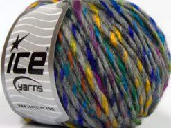Lot of 8 Skeins Ice Yarns BABY TWIST (15% Wool) Yarn Light Grey Rainbow