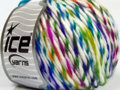 Lot of 8 Skeins Ice Yarns BABY TWIST (15% Wool) Yarn White Rainbow