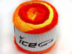 Lot of 2 x 150gr Skeins Ice Yarns CAKES ALPACA WORSTED (20% Alpaca 25% Wool) Yarn Red Orange Neon Yellow