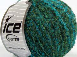 Lot of 8 Skeins Ice Yarns ALPACA BOUCLE FINE (25% Alpaca 25% Wool) Yarn Green Shades Turquoise Shades