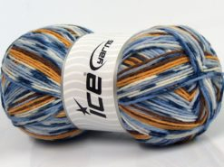 Lot of 2 x 150gr Skeins Ice Yarns GLAMOR SOCK (75% Superwash Wool) Yarn Blue Shades Gold Brown White