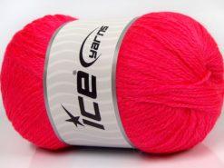 Lot of 4 x 100gr Skeins Ice Yarns NORSK FINE (45% Alpaca 25% Wool) Yarn Neon Pink