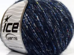 Lot of 8 Skeins Ice Yarns BONBON TWEED (10% Silk 30% Wool) Yarn Dark Navy