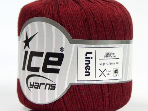 Lot of 6 Skeins Ice Yarns LINEN Hand Knitting Yarn Burgundy