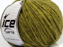 Lot of 8 Skeins Ice Yarns ETNO ALPACA (25% Alpaca 50% Merino Wool) Yarn Olive Green