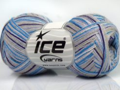 Lot of 8 Skeins Ice Yarns SALE LUXURY-PREMIUM (10% Cashmere 60% Viscose) Yarn Grey Lilac White Blue Purple