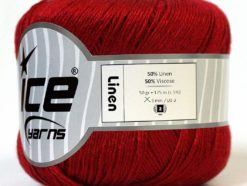 Lot of 6 Skeins Ice Yarns LINEN (50% Viscose) Hand Knitting Yarn Dark Red