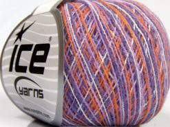 Lot of 10 Skeins Ice Yarns COLORWAY SUPERFINE Yarn Lilac Shades Gold White