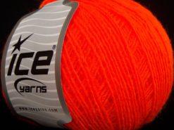 Lot of 8 Skeins Ice Yarns PERU ALPACA FINE (25% Alpaca 50% Merino Wool) Yarn Neon Orange