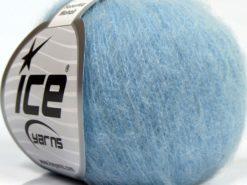 Lot of 6 Skeins Ice Yarns SUPERKID MOHAIR (47% SuperKid Mohair 31% Superwash Extrafine Merino Wool) Yarn Baby Blue