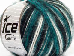 Lot of 8 Skeins Ice Yarns ALPACA DELUXE (20% Alpaca 50% Wool) Yarn Emerald Green White Black Grey