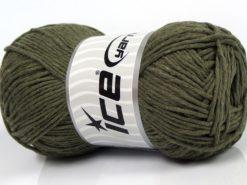 Lot of 4 x 100gr Skeins Ice Yarns NATURAL COTTON WORSTED (100% Cotton) Yarn Dark Khaki