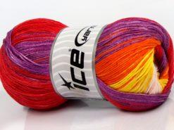 Lot of 4 x 100gr Skeins Ice Yarns CAMILLA COTTON MAGIC (100% Mercerized Cotton) Yarn Red Purple Orange Yellow Light Pink