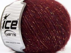 Lot of 8 Skeins Ice Yarns SALE METALLIC (16% Wool 1% Elastan) Yarn Dark Burgundy Lilac Gold