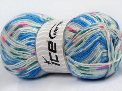 Lot of 4 x 100gr Skeins Ice Yarns SALE WINTER (25% Wool) Yarn Blue White
