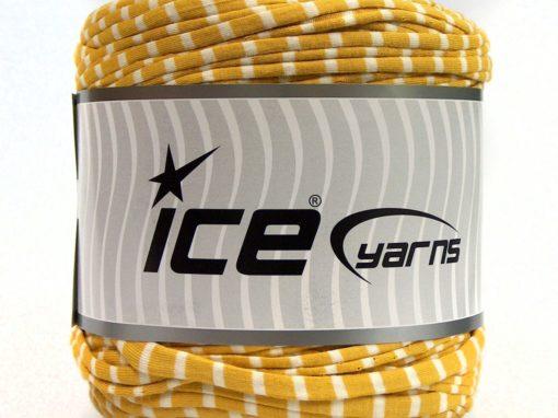 600 gr ICE YARNS UPCYCLED FABRIC 600 (95% Cotton 5% Elastan) Yarn Gold White