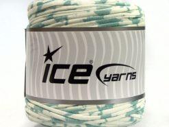 600 gr ICE YARNS UPCYCLED FABRIC 600 (95% Cotton 5% Elastan) Yarn Mint Green Cream